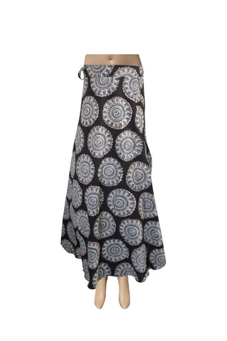 Wrap Skirt - Circles Blue (KK1015)