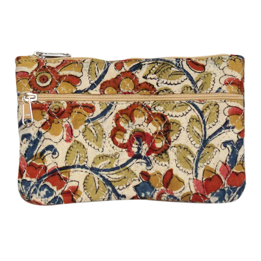 KK2118- Coin Purses - Two Zipper - Kalamkari - Flowers Beige