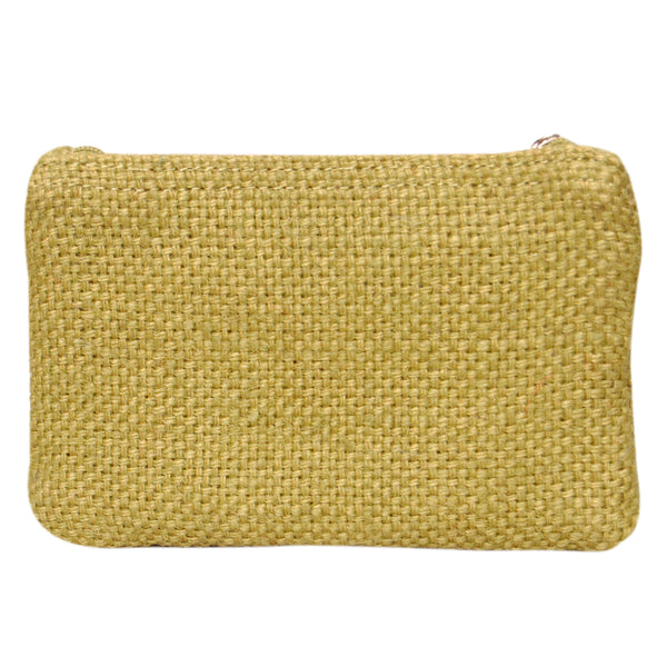 Coin Purse - Two Zipper - Jute - Green (KK2203)