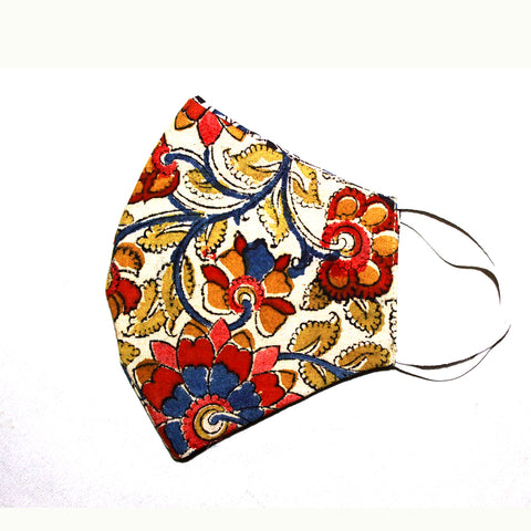 Kalamkari Cotton Mask- Flowers (MS0004)