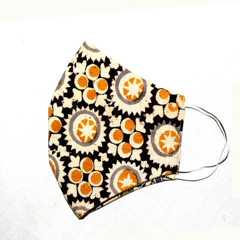 Kalamkari Cotton Mask- Beige Circles (MS0005)
