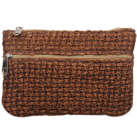 Coin Purse - Two Zipper - Jute Net - Lt Brown (KK2208)