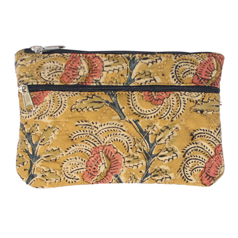 KK2117- Coin Purses - Two Zipper - Kalamkari - Flowers Yellow
