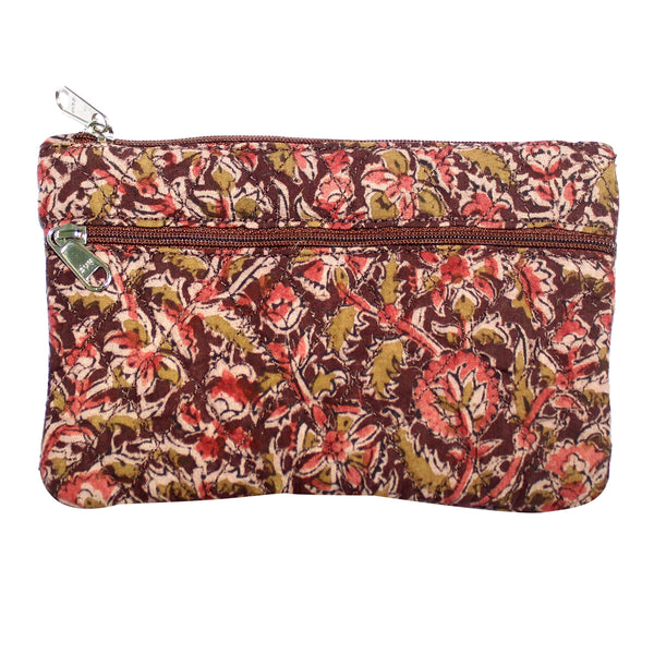 KK2111- Coin Purses - Two Zipper - Kalamkari - Flowers Brown