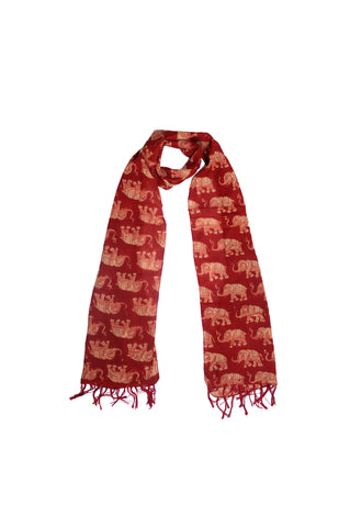 Scarf - Kalamkari - Elephants Red (SON0120)