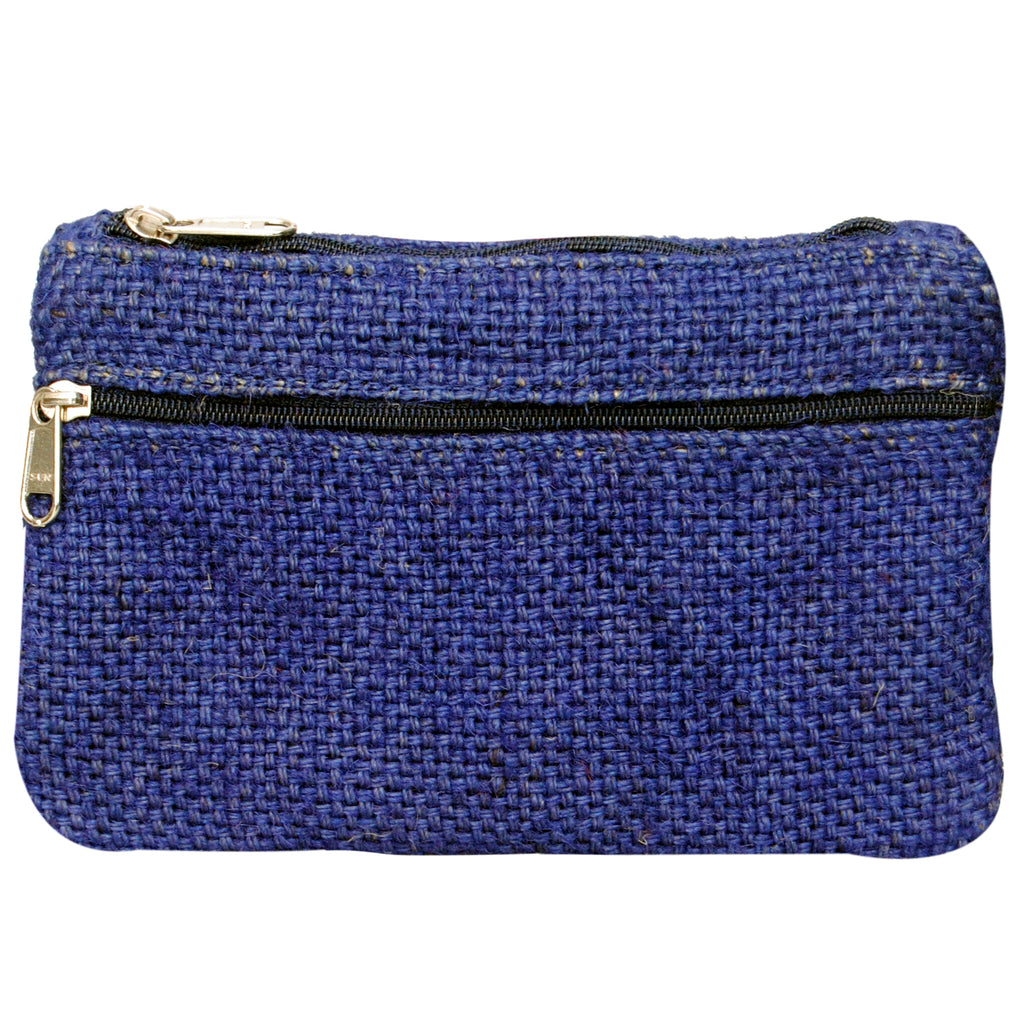 Coin Purse - Two Zipper - Jute - Blue (KK2204)