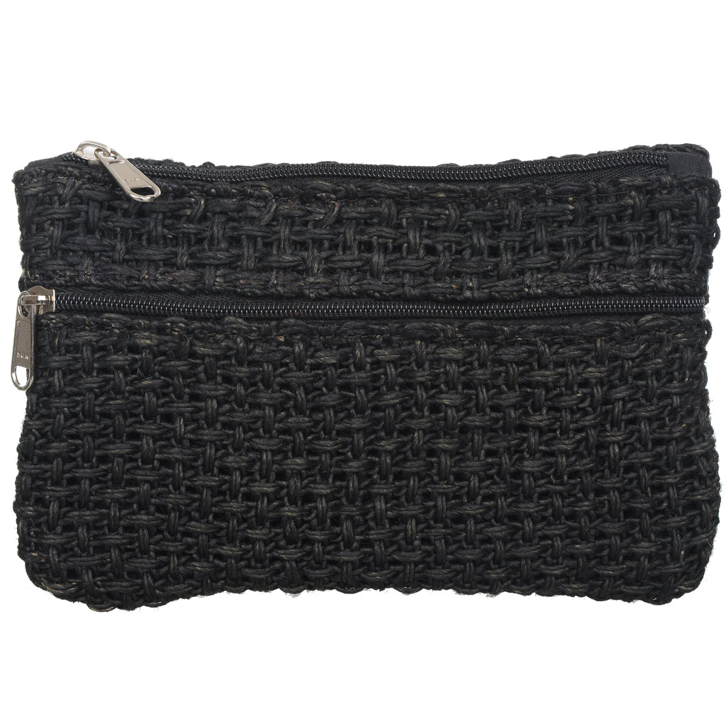 Coin Purse - Two Zipper - Jute Net - Black (KK2206)