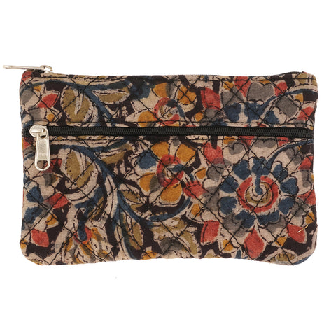 KK2104- Coin Purses - Two Zipper - Kalamkari - Black Flowers