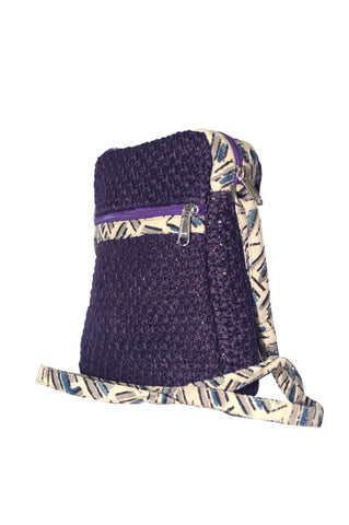 Cutie - Jute Cross Body Bag-Violet -  (JK1207)