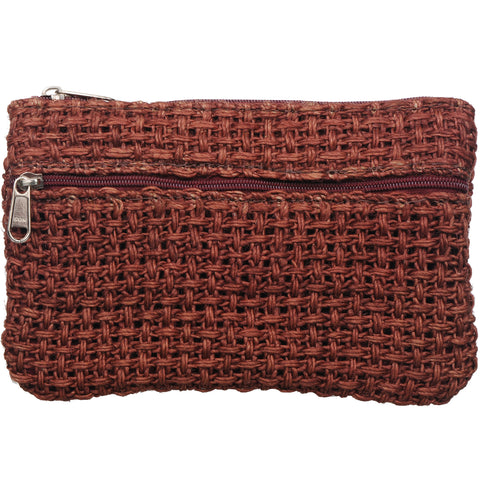 Coin Purse - Two Zipper - Jute Net - Copper Brown (KK2209)
