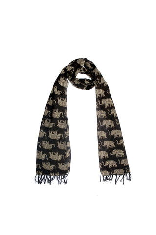 Scarf - Kalamkari - Elephants Black (SON0121)