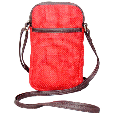 Cell Phone Bag Jute - Red (KK1157)