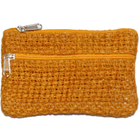 Coin Purse - Two Zipper - Jute Net - Honey (KK2212)