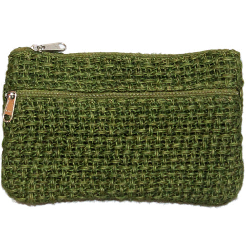 Coin Purse - Two Zipper - Jute Net - Olive Green (KK2211)