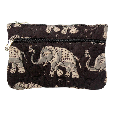 KK2114- Coin Purses - Two Zipper - Kalamkari - Elephants Black