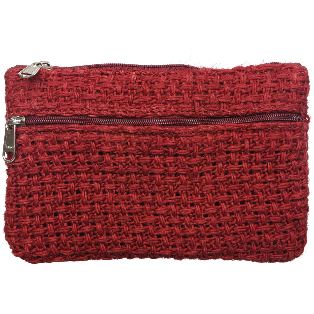 Coin Purse - Two Zipper - Jute Net - Red (KK2207)