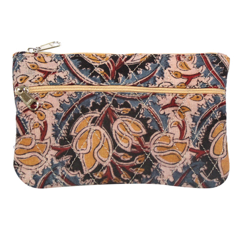 KK2113- Coin Purses - Two Zipper - Kalamkari - Bulbs