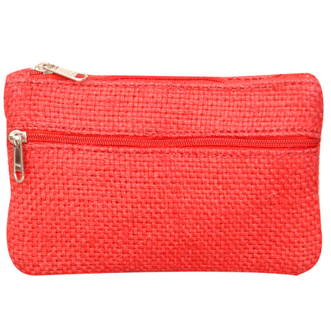 Coin Purse - Two Zipper - Jute - Red - (KK2201)