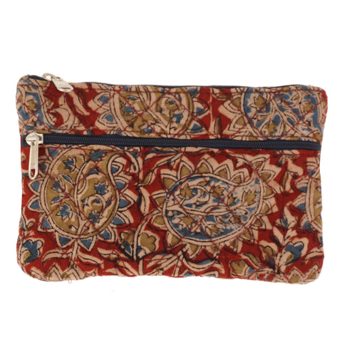 KK2103- Coin Purses - Two Zipper - Kalamkari - Red Paisley