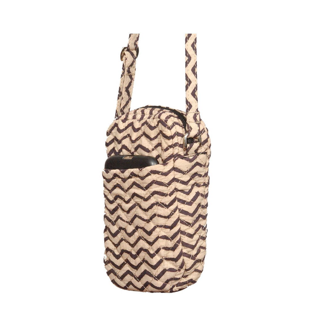 Cell Phone Bag - Black zigzag (KK1155)