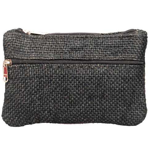 Coin Purse - Two Zipper - Jute - Black (KK2202)