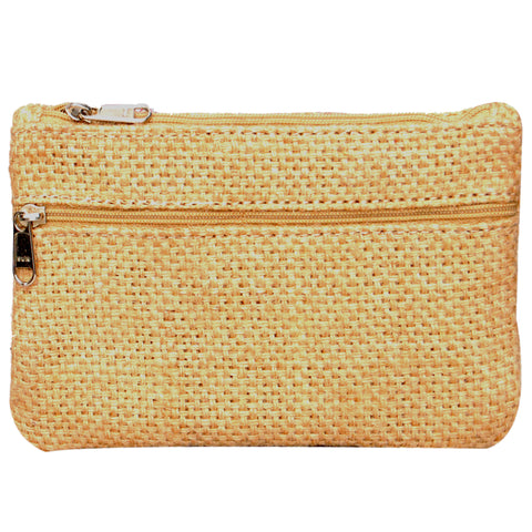 Coin Purse - Two Zipper - Jute - Natural (KK2200)
