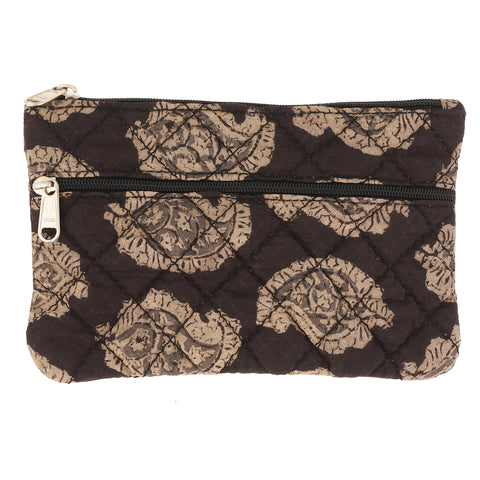KK2102- Coin Purses - Two Zipper - Kalamkari - Black Paisley