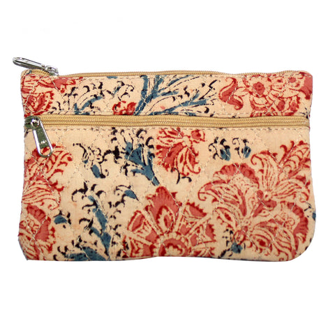 KK2110- Coin Purses - Two Zipper - Kalamkari - Flowers Pink