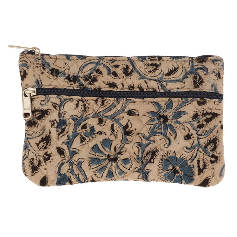 KK2101- Coin Purses - Two Zipper - Kalamkari - Blue Flowers