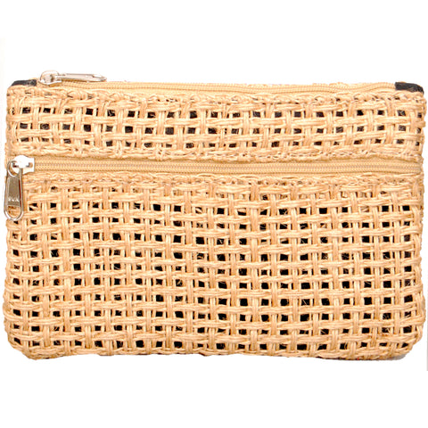Coin Purse - Two Zipper - Jute Net - Natural (KK2205)