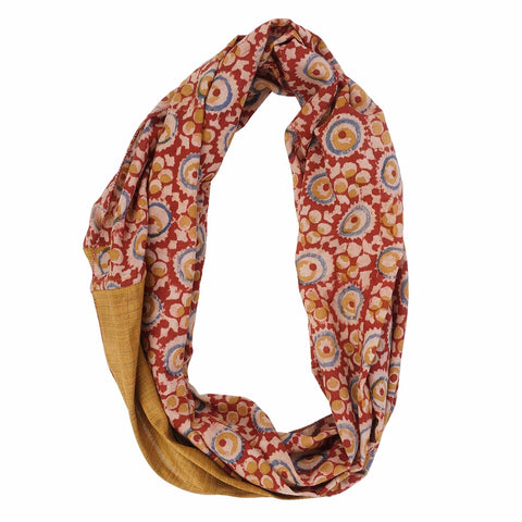 Scarf - Infinity Style - Kalamkari with Silk - 105 Red(SIN0003)