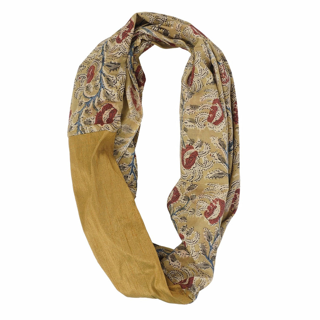 Scarf - Infinity Style - Kalamkari with Silk - 48 yellow (SIN0008)