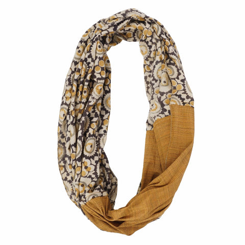 Scarf - Infinity Style-Kalamkari with Silk - 105 Natural (SIN0002)