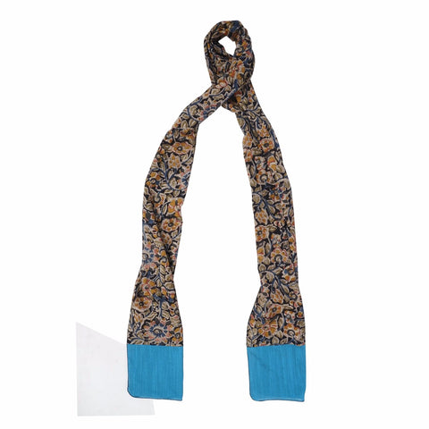 Oblong Kalamkari Scarf with Silk Trim - STT Black/Blue (SOS0007)