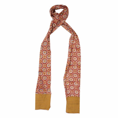 Oblong kalamkari Scarf with Silk Trim - 105 Red (SOS0003)