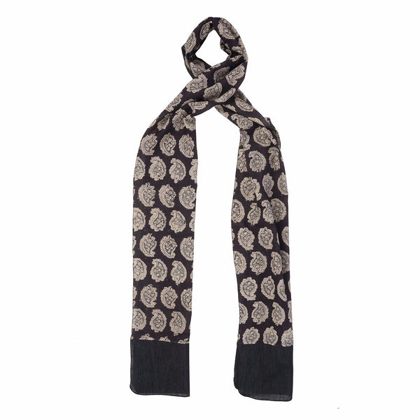 Oblong kalamkari Scarf with Silk Trim - Black Paisley (SOS0001)