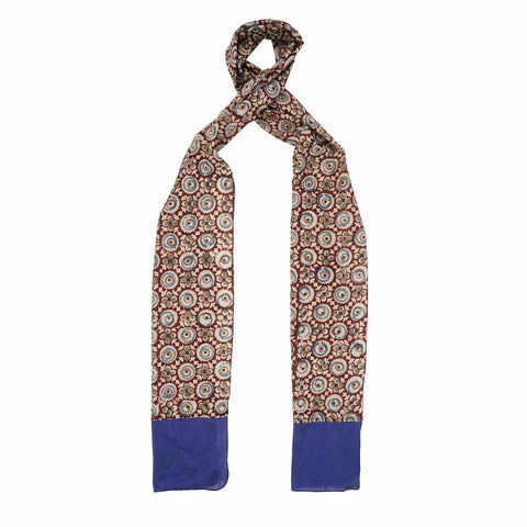 Oblong kalamkari Scarf with Silk Trim - 105 Brown (SOS0004)