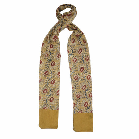Oblong Kalamkari Scarf with Silk Trim - 48 yellow (SOS0008)