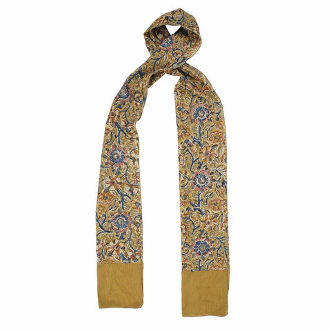 Oblong Kalamkari Scarf with Silk Trim - STT Green (SOS0006)