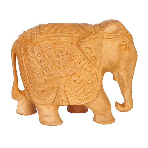 WA1002-4 - Wooden Elephant - solid with carving - 4""