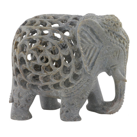 "Soapstone Elephant - Triple cut- 4"" height (SA1008-4)"