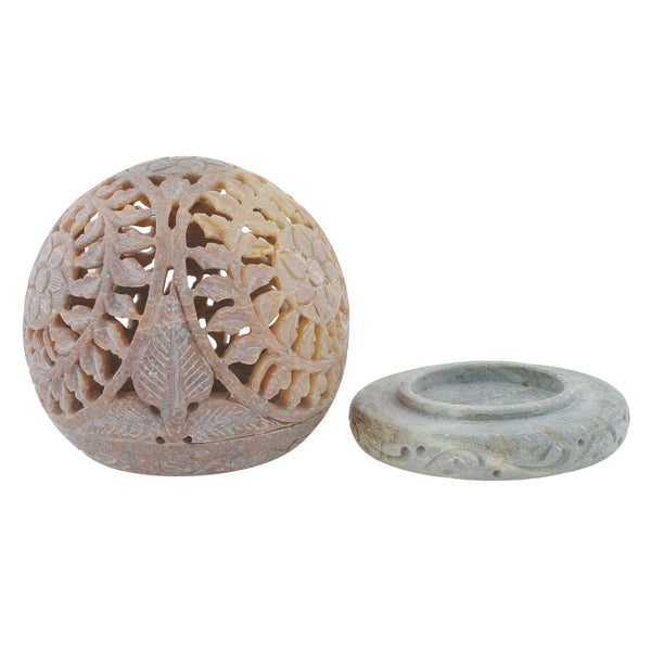 "Candle Holder- Round - Stone carving - 4"" diameter - Sun Design (SA1003)"