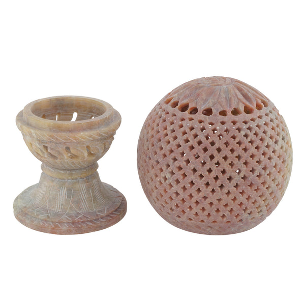 "Candle Holder-with stand - Stone carving - 3.5"" diameter - Lattice Design (SA1005)"