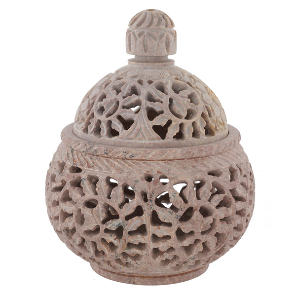 "Candle Holder with lid - Stone carving - 4"" diameter - Sun Design (SA1002)"
