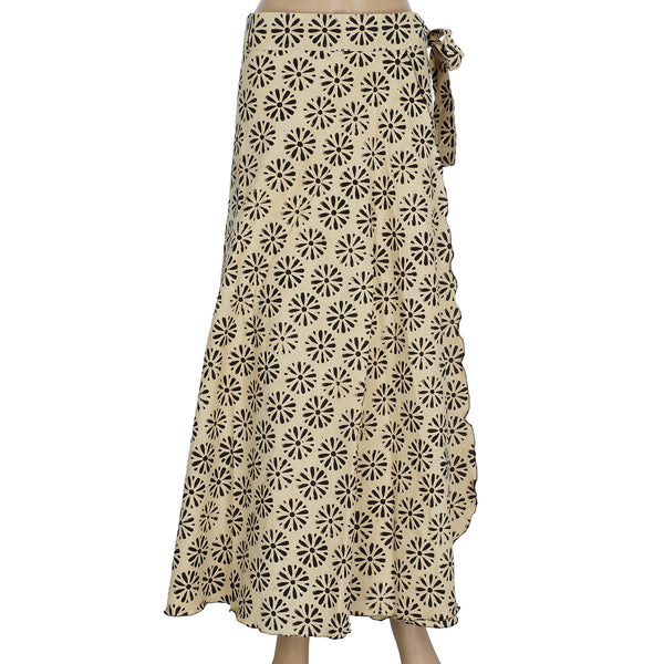 Wrap Skirt - Full Length - Black Daisy (KK1002)