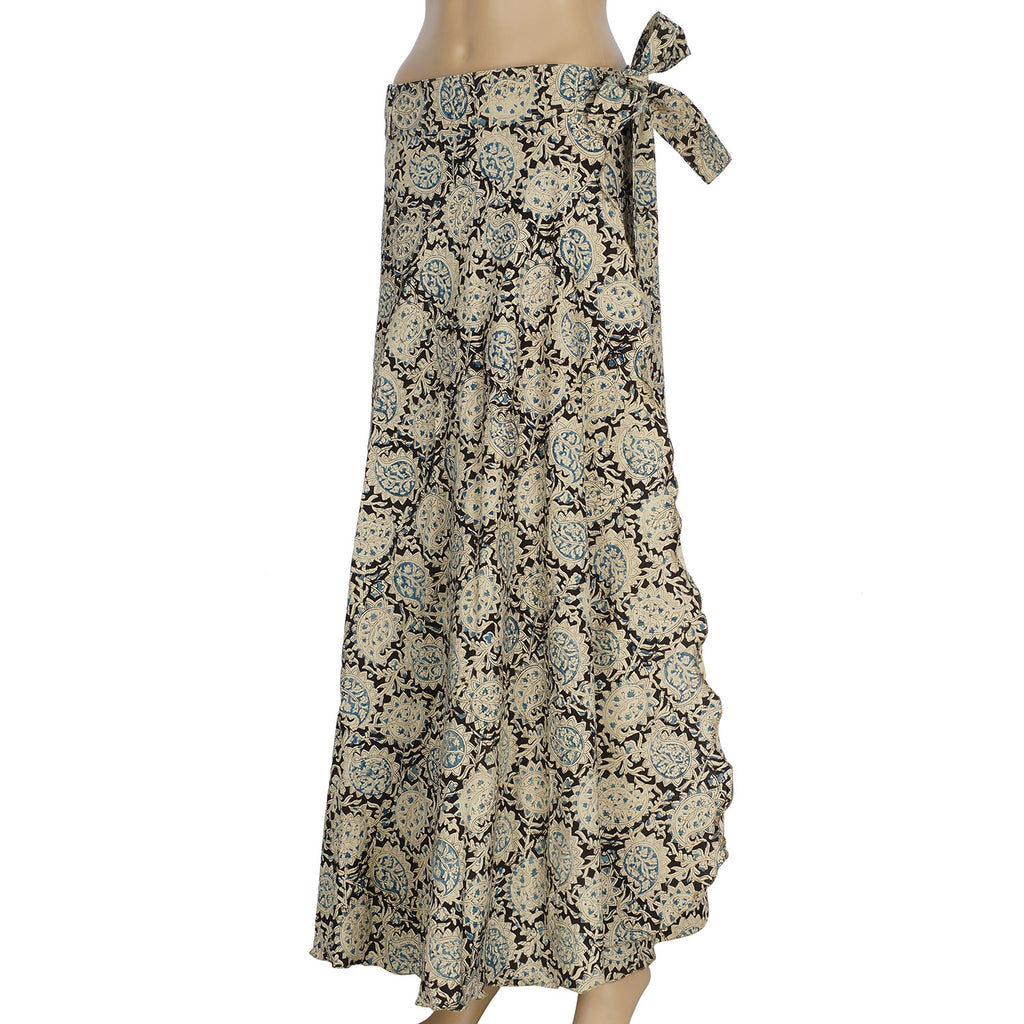 Wrap Skirt - Full Length - Blue Paisley (KK1001)
