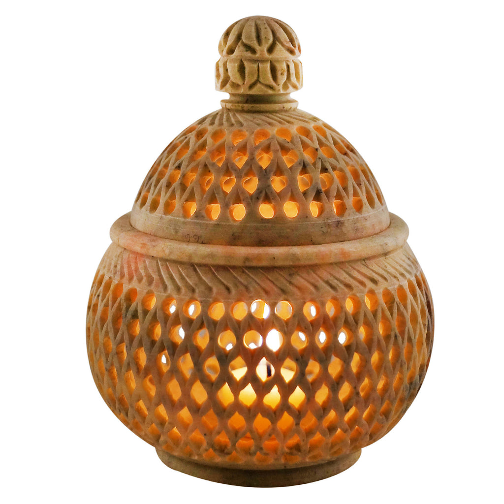 "Candle Holder with lid - Stone carving - 4"" diameter - Lattice Style (SA1001)"