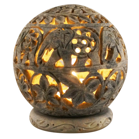 "Candle Holder- Round - Stone carving - 4"" diameter - Elephants Design (SA1004)"