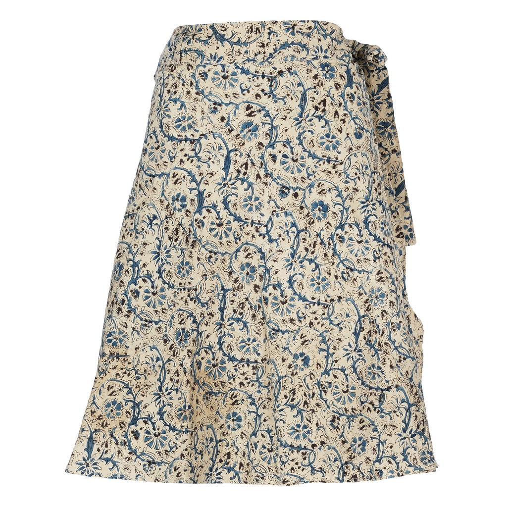 Wrap Skirt - Medium Length - Blue Flowers (KK1042)