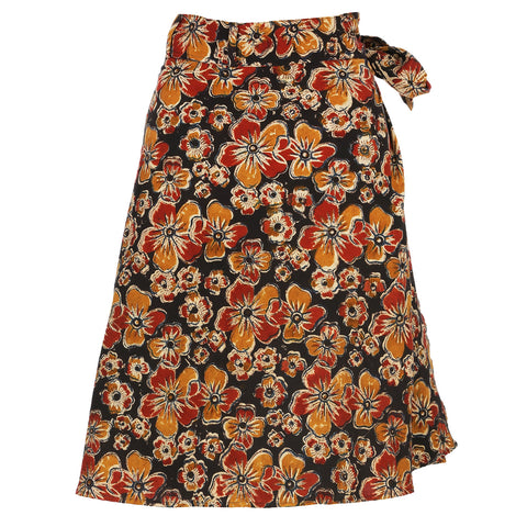 Wrap Skirt - Medium Length - Black Flowers (KK1041)